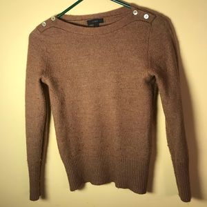 •JCREW Buttoned Boatneck Sweater in Brown Wool• S